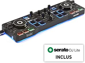 Hercules DJControl Starlight - Controlador de DJ USB portátil 2 Pistas con 8 Pads/Tarjeta de Sonido para PC/Mac, Multicolor