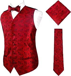 Mens Classic 4pc Paisley Jacquard Suit Vest Set