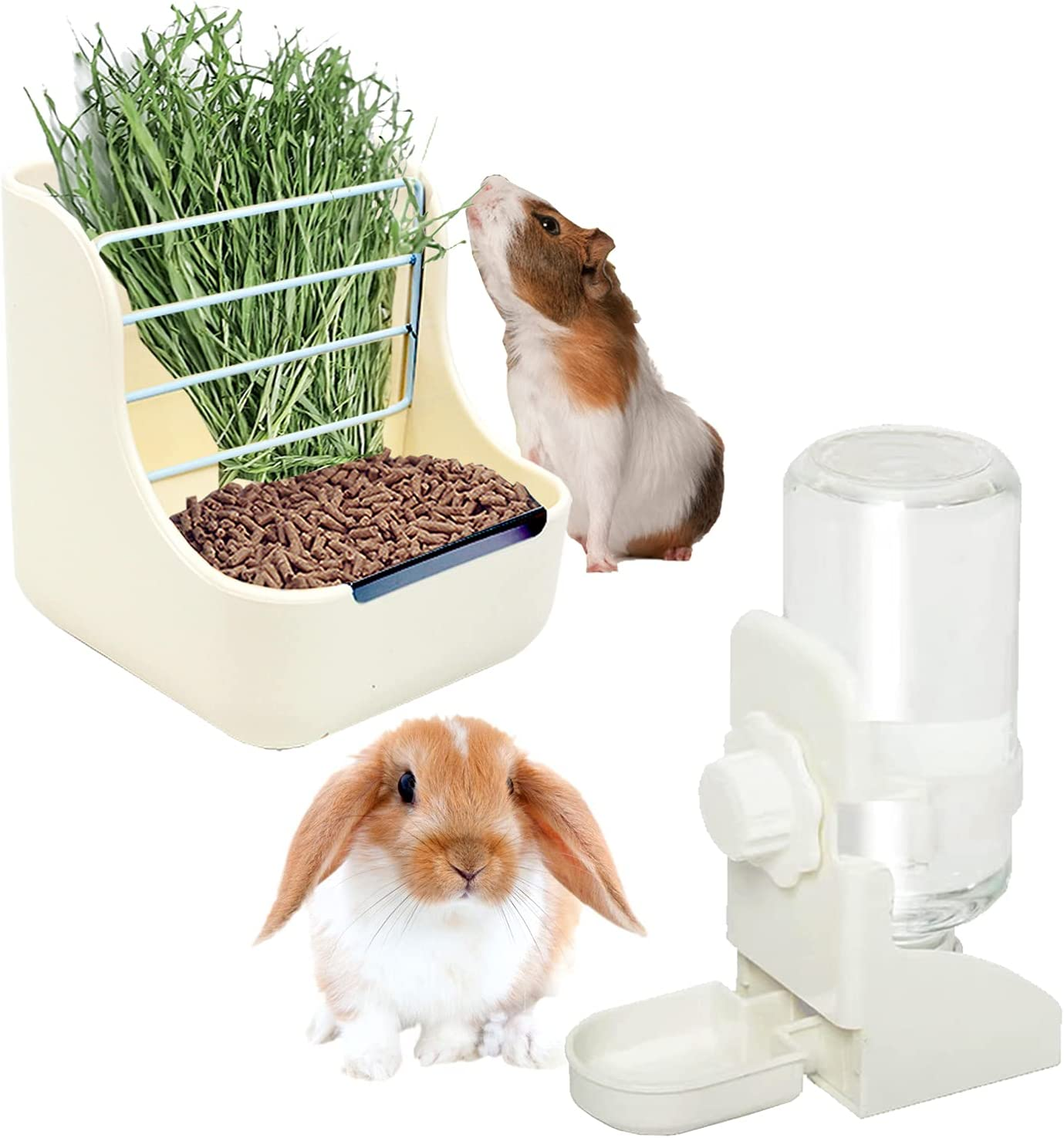 HERCOCCI Rabbit Hay Food Bin Feeder and Bunny Water Bottle Set, Hay Food Feeder Bowls Manger Rack with 500ml Hanging Water Dispenser Prevent Knock Over for Rabbit Guinea Pig Chinchilla Hedgehog