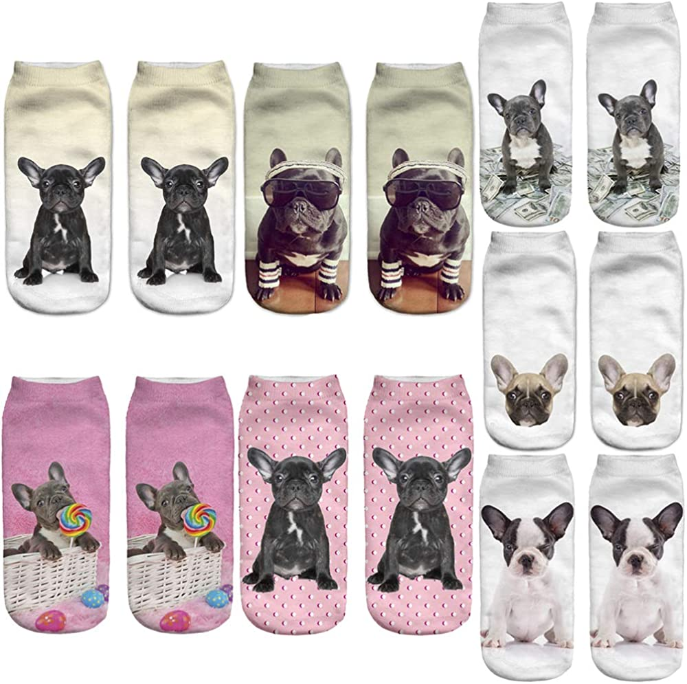 Angelteers 3D Popular shop is the lowest price challenge French Bulldog Ankle Socks for Funny Dog Cute 4 years warranty Gift