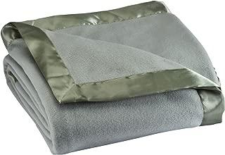 Fleece Blanket with Satin Trim, Full Queen Size, Sage