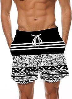 5587b2622f830 AIDEAONE Men Swim Trunks Elastic Waist 3D Printed Beach Board Shorts with  Pockets Mesh Lining