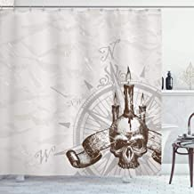 Ambesonne Compass Shower Curtain, Compass with Skull and Candles Spooky Adventure New Pirate Destinations Theme, Cloth Fabric Bathroom Decor Set with Hooks, 75 Long, Brown Grey