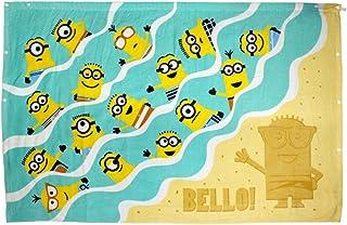 ピアニッシモ ボーイズジュニア 水着 大判 ラップタオル ミニオン ミニオンズ 巻きタオル 水泳 プール 着替えタオル キャラタオル ターコイズ 80x120cm