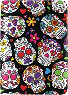 MASSIKOA Dead Sugar Skull Leather Passport Holder Cover Travel Wallet Case