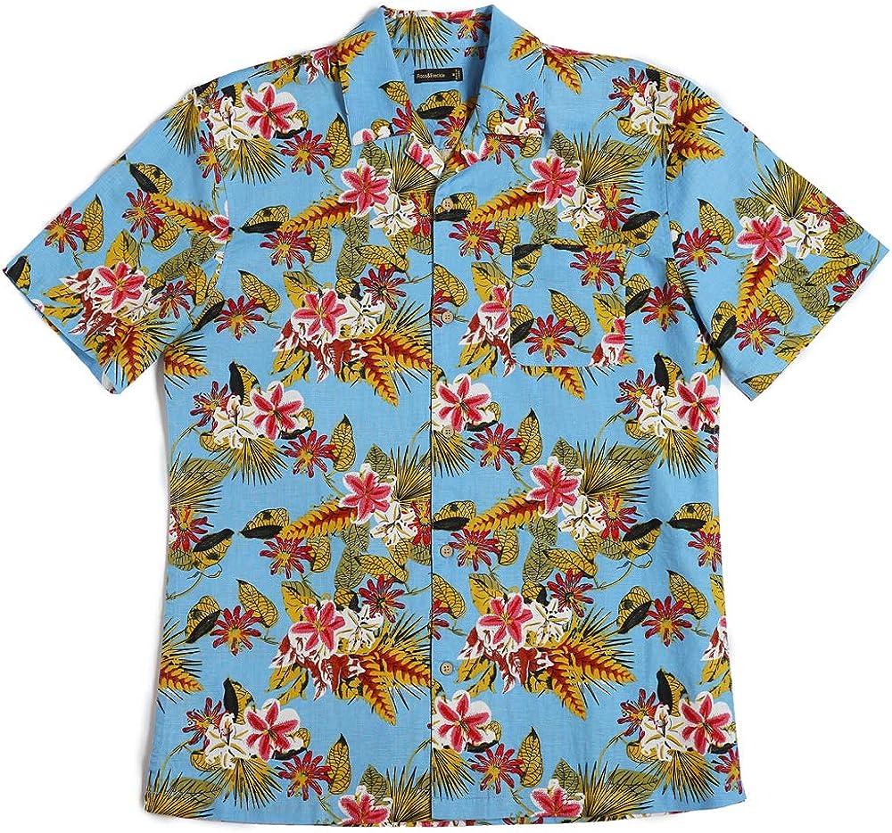 Ross&Freckle Men's Relaxed-Fit Linen Cotton Blend Tropical Aloha Short Sleeve Shirt