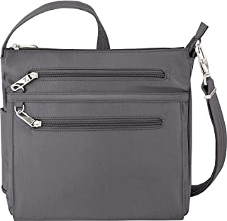 Anti-Theft Essential North/South Bag - Small Nylon Crossbody for Travel & Everyday - (Pewter/Dark Emerald Interior)