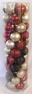 """at home 55 Piece Shatterproof Christmas Tree Ball Ornaments Black Red Gold 2.36"""""""