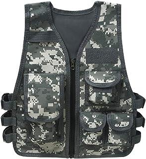 MSemis Unisex Children Kids Camouflage Assault Vest with Adjustable Multi Pocket Camo Combat Vest