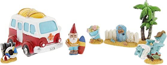 Distinctive Designs Set of 8 Mini Fairy Garden Figurines - Beach Theme Includes Surfing Gnome, Retro Van, Palm Tree