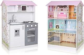 comprar comparacion Baby Vivo Cocina de Juguete y Casa de Muñecas 2en1 Microondas 3 Niveles de Madera Niños Infantil Horno Lavabo Cocinita - Mira
