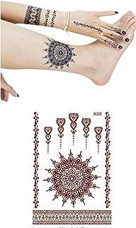 Tattoo, Body Temporary Tattoos - 6 Different Designs Sheets (Dark Henna Tattoo)
