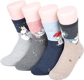 world look, Calcetines de mujer Moomin Story Crew 4 pares fabricados en Corea
