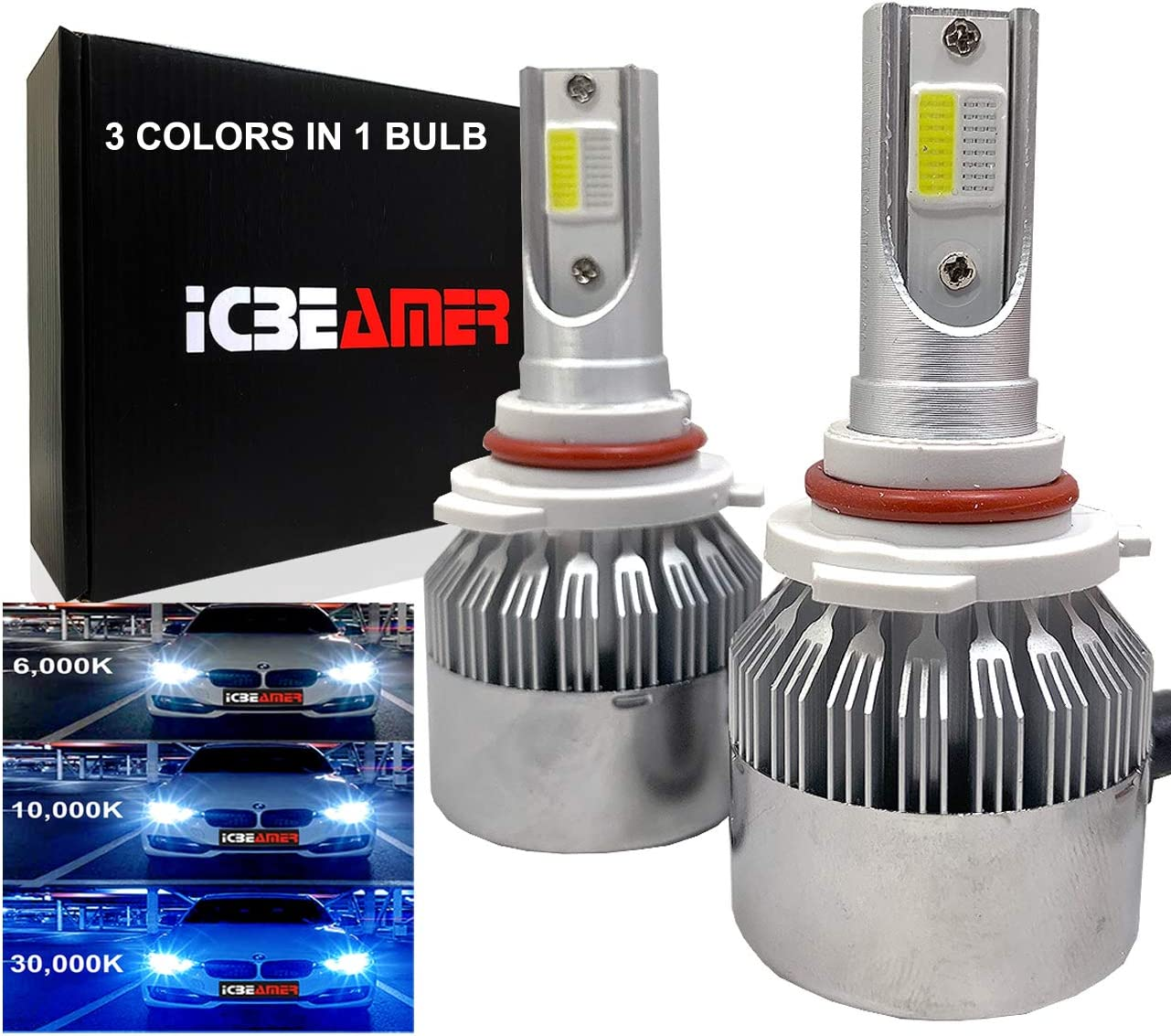 ICBEAMER 9006 Ultra-Cheap Deals HB4 Canbus COB Max 72% OFF LED Replace Colors 3 Bulbs Halogen