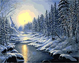 Acrylic Oil Painting for Kids DIY Paint By Numbers for Adults Wall Picture Digital Painting Nature Landscape,Non-toxic,Beg...