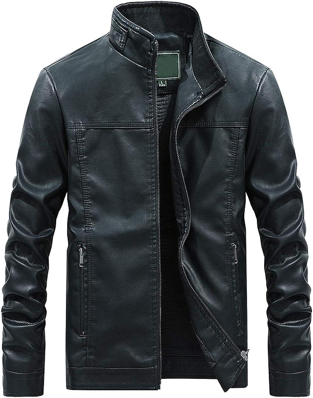 Itemnew Men's Stylish Band Collar Regular Thick Check Lined Moto Pu Leather Biker Jacket