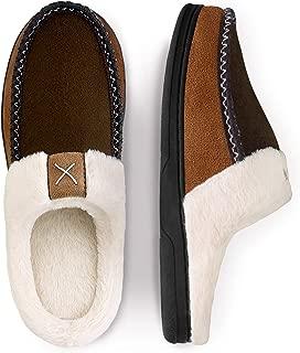 Men's Cozy Memory Foam Slippers,Fuzzy Wool-Like Plush Fleece Lined House Shoes w/Indoor Outdoor Anti-Skid Rubber Sole