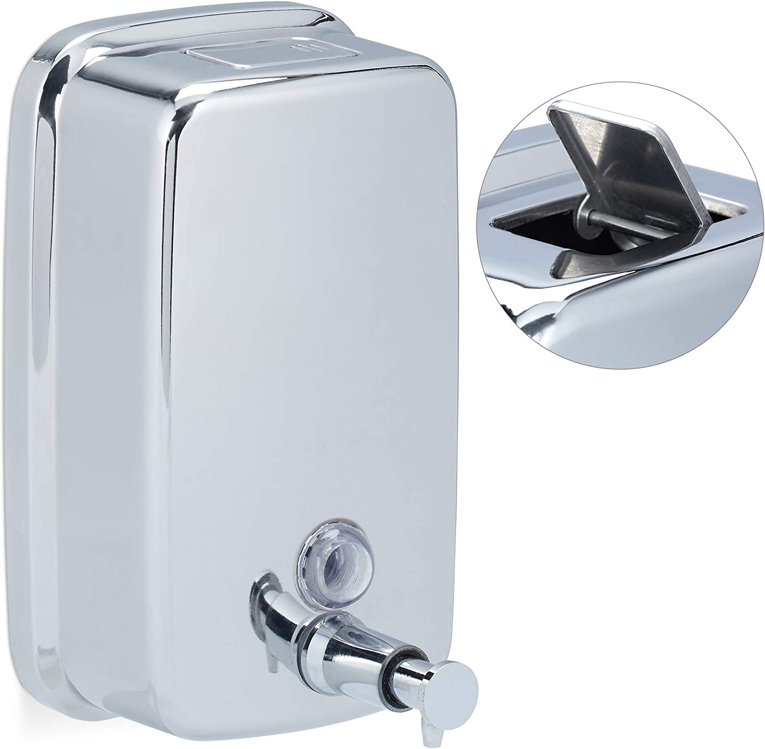 Relaxdays Dispenser Wall Mount 特別セール品 Pump Steel Stainless 安心の定価販売 Liqu for
