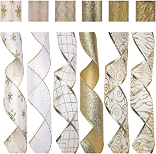 SANNO 6 Rolls Christmas Wired Ribbon Decorations Assorted Organza Swirl Sheer Glitter Crafts Gift Wrapping Ribbons Colorful Christmas Design Decorations 36 Yards (2.5