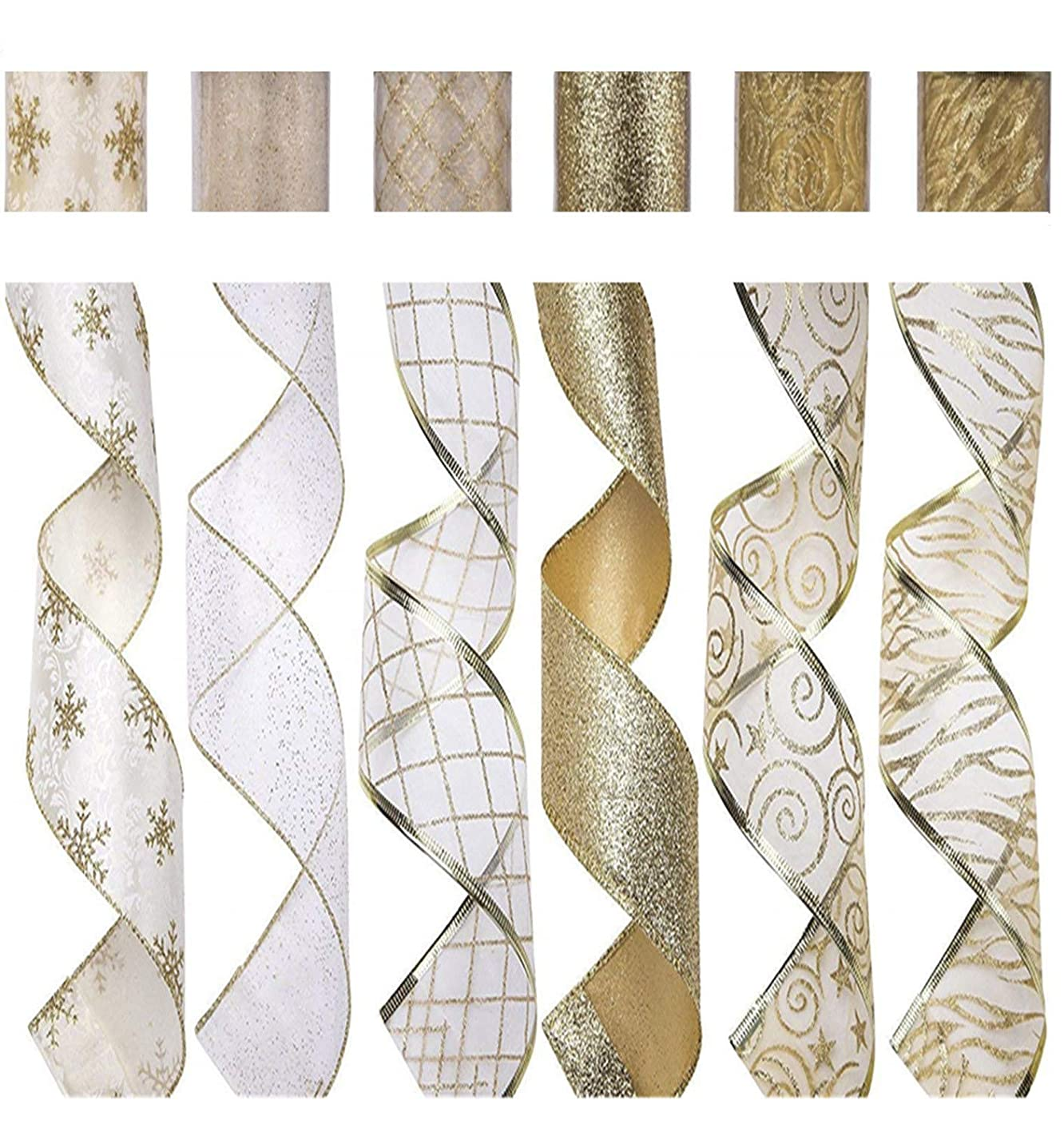 SANNO 6 Rolls Wired Decorations, Christmas Ribbon Assorted Sheer Glitter Ribbon Tulle Decorations Wired Edge Ornaments 36 Yards (2.5