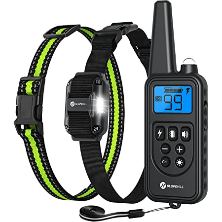 Slopehill Dog Training Collar, Waterproof Dog Shock Collar with 2600Ft Remote, Rechargeable Dog Collar with Vibration, Beep, Shock Light Modes, Adjustable 0 to 99 Shock Levels