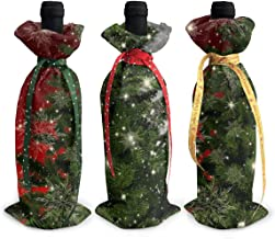 3 Pcs Christmas Wine Bottle Cover Bags,Fir Tree Mockup Star Xmas Gift Bags Home Party Decoration
