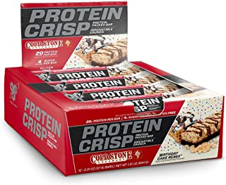 BSN Protein Crisp Bar by Syntha-6, Low Sugar Whey Protein Bar, 20g of Protein, Birthday Cake Remix, 12 Count