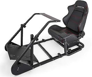 ZGYQGOO RS6 Racing Simulator Cockpit GTA-F avec Support Moniteur Triple ou Simple Cadre argenté avec siège Course réglable...