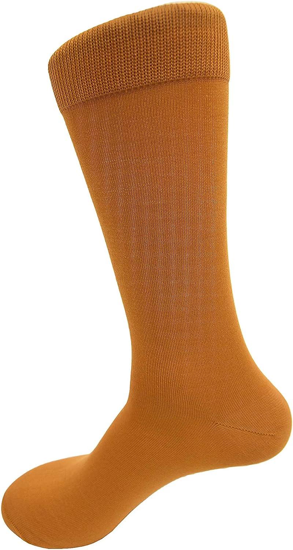 Vannucci Mens Dress Socks -Solid Colorful & Neon- Mercerized Cotton – 1 Pair