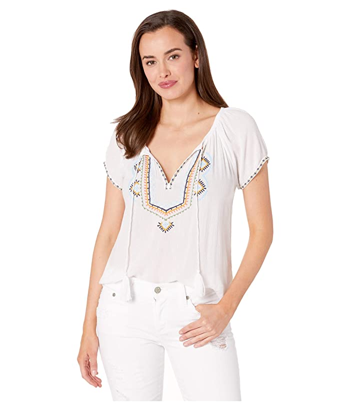 Lucky Brand  Embroidered Short Sleeve Peasant Top (Multi) Womens Clothing