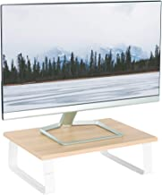 VIVO 15 inch Monitor Riser, Wood and Steel Desktop Stand, Ergonomic Desk and Tabletop Organizer, Light Wood and White, STA...