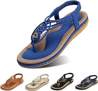 gracosy Sandalias Planas Verano Mujer Estilo Bohemia Zapatos de Dedo Sandalias Talla Grande Cinta Casuales Playa Chanclas ...