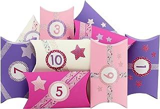 Papierdrachen 24 Pillowboxy Kalendarz Adwentowy - z różowym jednorożcem washitape i kolorowymi naklejkami z cyferkami - 24...