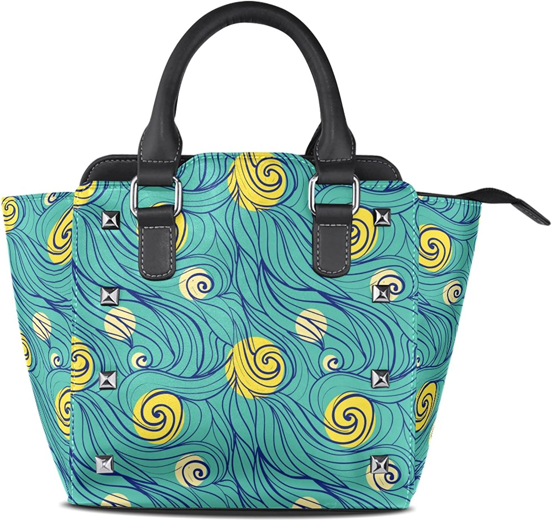My Little Nest Women's Top Handle Satchel Handbag Hand Drawn Wavy Pattern Ladies PU Leather Shoulder Bag Crossbody Bag