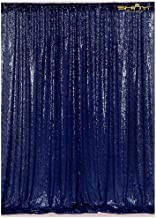 4FTX6FT-Navy Blue-Sequin Photo Backdrop, Wedding Photo Booth,Photography Background (Navy Blue)