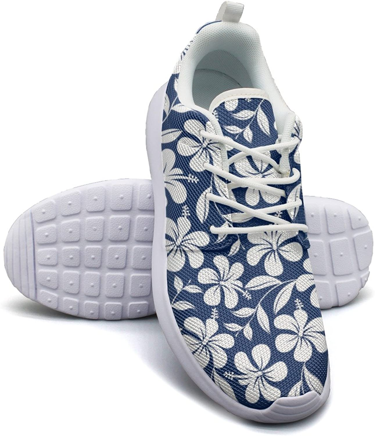 bluee And White Tropical Hibiscus Flowers Women's Fashion Tennis shoes Retro Mesh Lightweight Athletic Sneakers