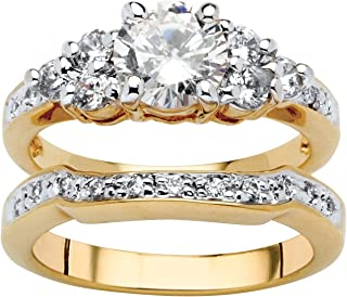 Palm Beach Jewelry 18K Yellow Gold Plated Round Cubic Zirconia Bridal Ring Set