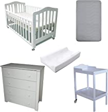 Babyworth BW02 Classic Cot & Mattress & Change Table & Pad & Chest Package (Cot+Mattress+Change Table+Pad+Chest, White)