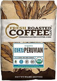 Fresh Roasted Coffee LLC, Organic Decaf Peruvian Coffee, Swiss Water Decaf, USDA Organic, Fair Trade, Medium Roast, Whole Bean, 5 Pound Bag