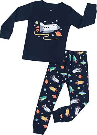 HIKIDS Pijama Niño Invierno-Pijama para Niños-Pijamas de Astronauta Cohete Planeta Excavador Tractor Coche Camión para Niños-Manga Larga Niño Ropa de ...