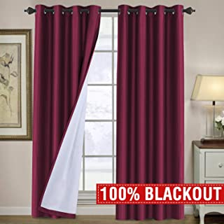 H.VERSAILTEX 100% Blackout Curtains 108 Long Light Blocking Thermal Insulated Grommet Thick Curtain Drapes for Sliding Glass Door, Soundproof Extra Long 108 Inches Draperies for Bedroom, Burgundy