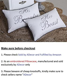 ADecor Pillow Covers His Beauty Her Beast set of 2 pillow cases Embroidered Cushion Couple Anniversary Love Wedding Gift P355 (12x20, Ivory)