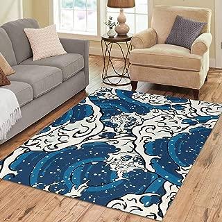 INTERESTPRINT Sweet Home Stores Collection Custom Japanese Art Ocean Wave Graphic Area Rug 7'x5' Indoor Soft Carpet