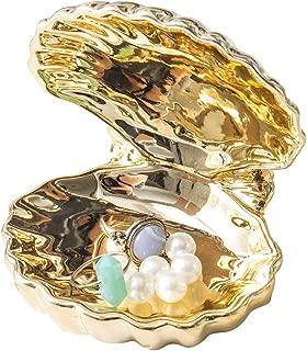 WANYA Cactus Ceramic Ring Jewelry Holder Decor Dish Organizer, Golden Shell