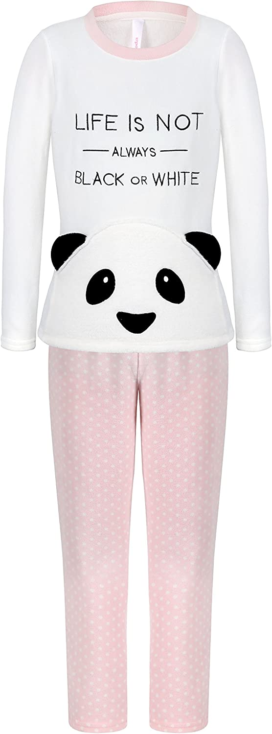 DOYOMODA Womens Sleepwear Polar Fleece Long Sleeve Lounge 3D Panda Pocket Pajamas Set