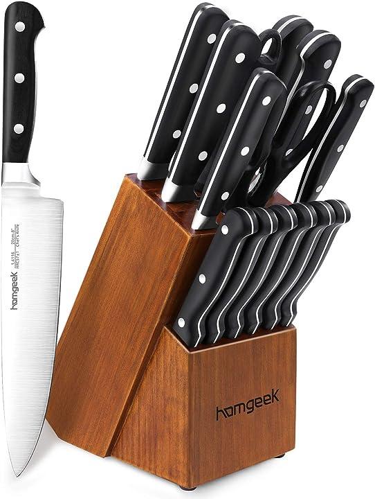 Ceppo coltelli da cucina tedesco 15 pezzi x50cr15 in acciaio inossidabile, incluso forbice e affilacoltelli B083354XT4
