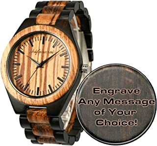 Wood Watches, shifenmei Natural Handmade Wooden Watch Analog Japanese Quartz Movement Wood Watch Mens with Exquisite Box