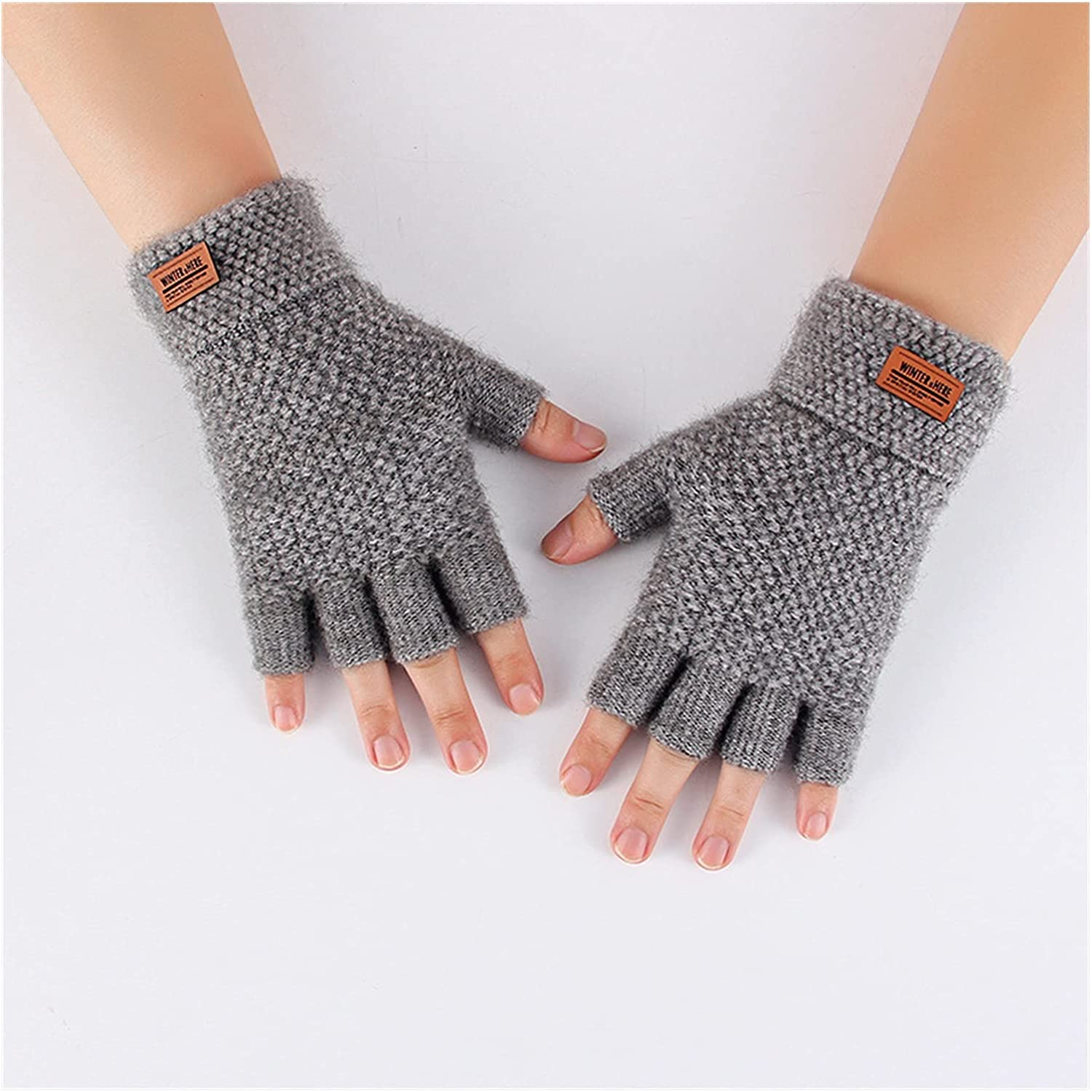 YSJJSQZ Winter Gloves New Men's Winter Half-Finger Fingerless Clamshell Knitted Warmth and Thick Fluffy Outdoor Riding Sports Driving Gloves (Color : A336-1)