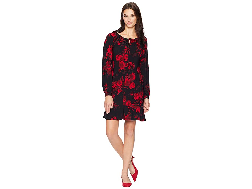 CHAPS Floral Long Sleeve Day Dress (Midnight Maroon/Multi) Women