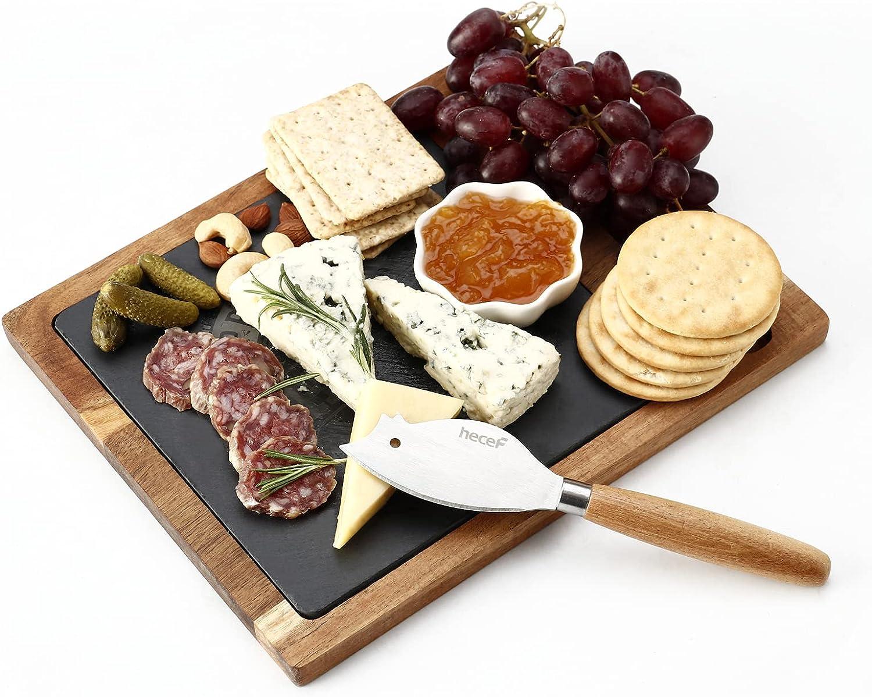 hecef Acacia Wood Cheese Board Set with Black Slate  Cheese kni